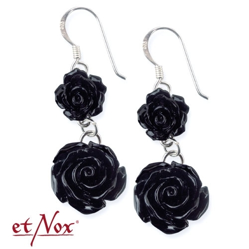 etNox Big Black Rose - Earrings