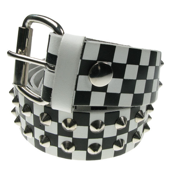 Bullet69,  Studded Belt, white check