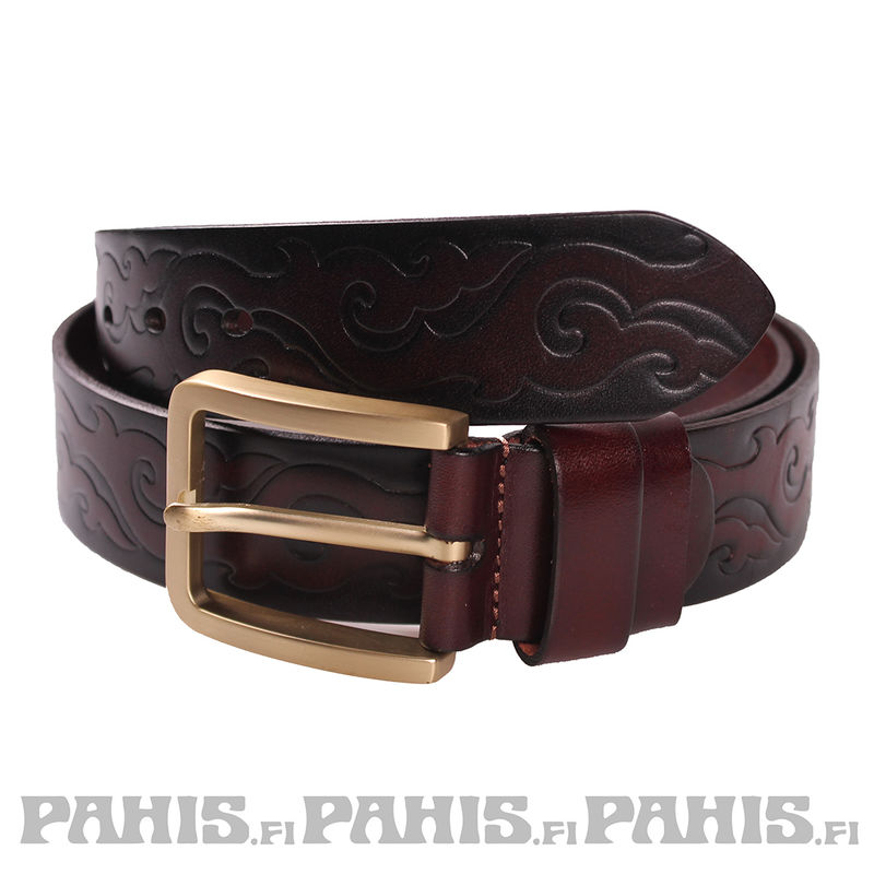 Leather belt - Tribal, brown