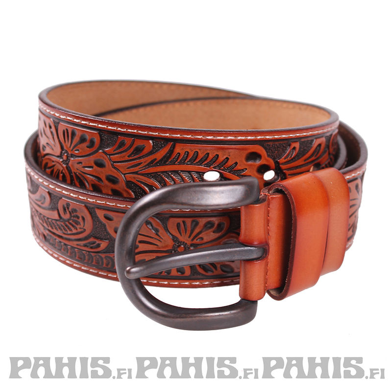 Leather belt - Ornament, camel