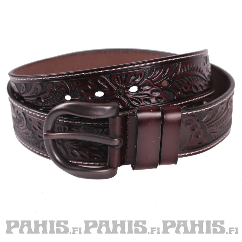 Leather belt - Ornament, coffee